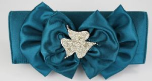 Turquoise Ruffle Bow with Feature Brooch Design Petite Clutch / Shoulder Evening / Prom Bag in Turquoise